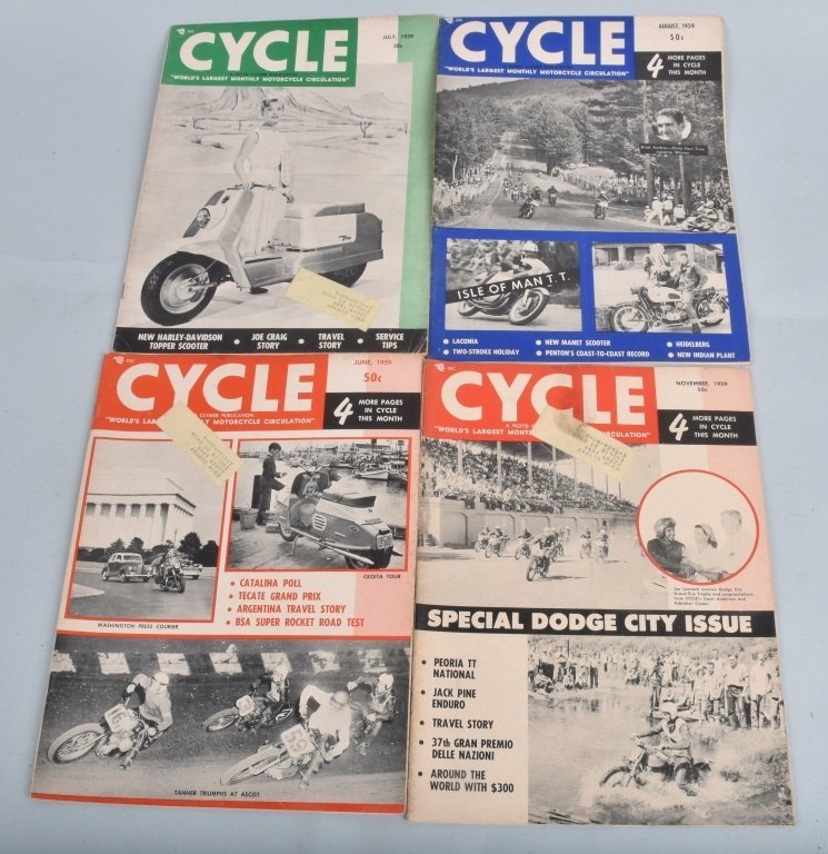 1959 CYCLE MAGAZINE, COMPLETE YEAR OF 12 - 4