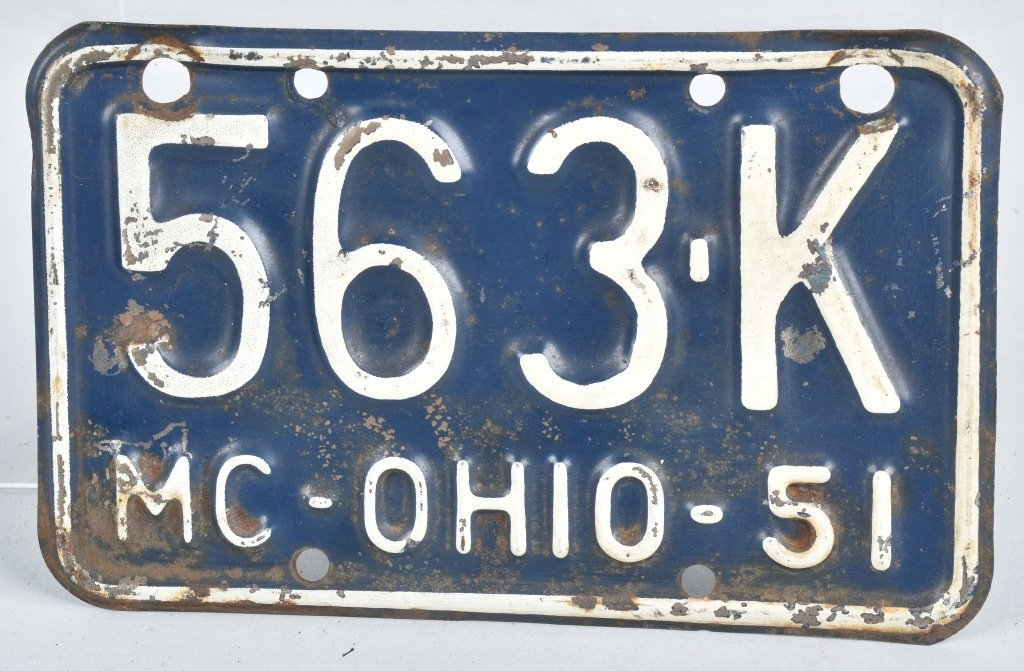 1951 OHIO MOTORCYCLE LICENSE PLATE