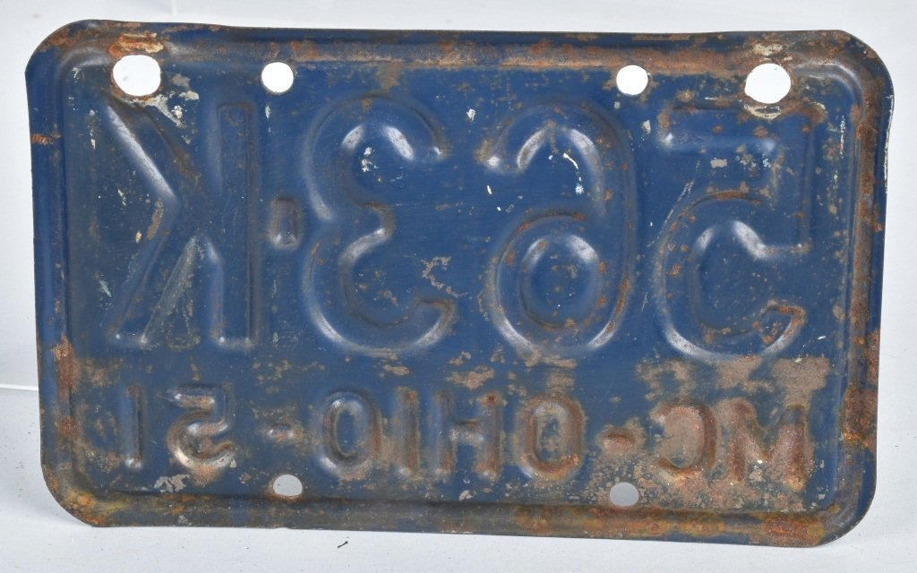 1951 OHIO MOTORCYCLE LICENSE PLATE - 2