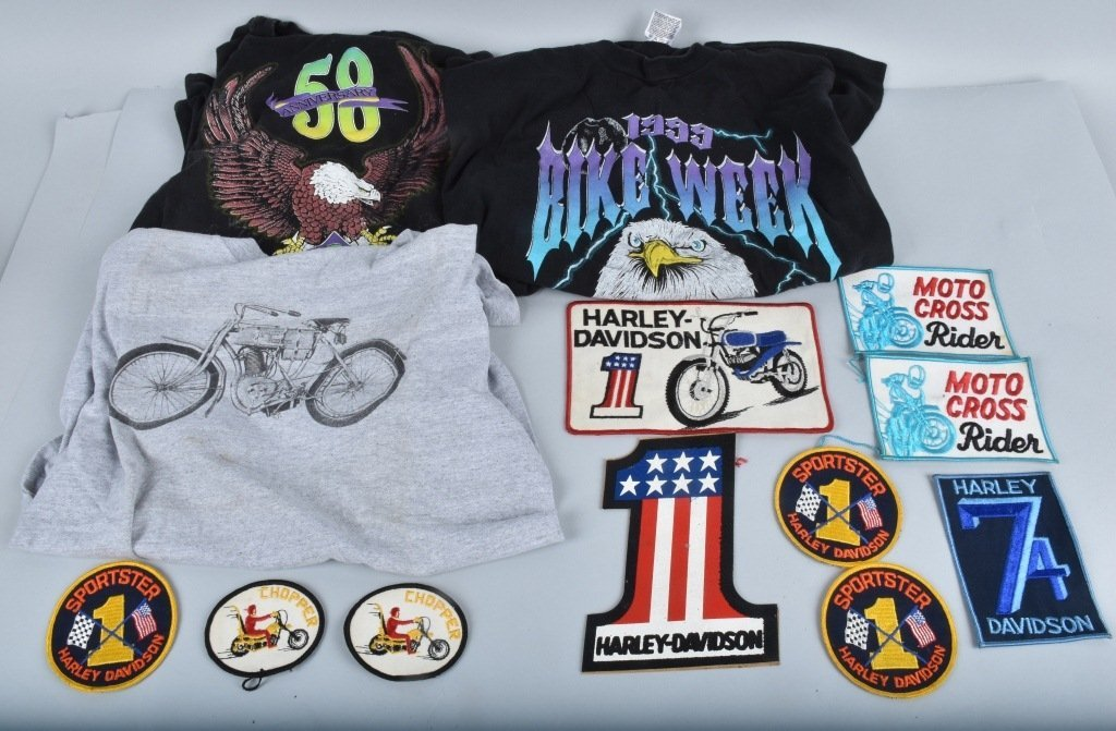 LOT OF HARLEY DAVIDSON PATCHES & SHIRTS, VINTAGE