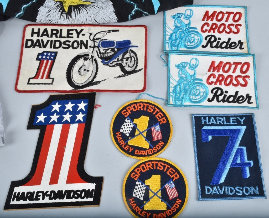 LOT OF HARLEY DAVIDSON PATCHES & SHIRTS, VINTAGE - 2