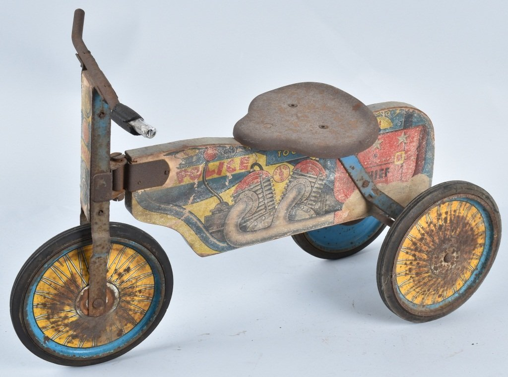 ANTIQUE TOY POLICE RIDE ON MOTORCYCLE