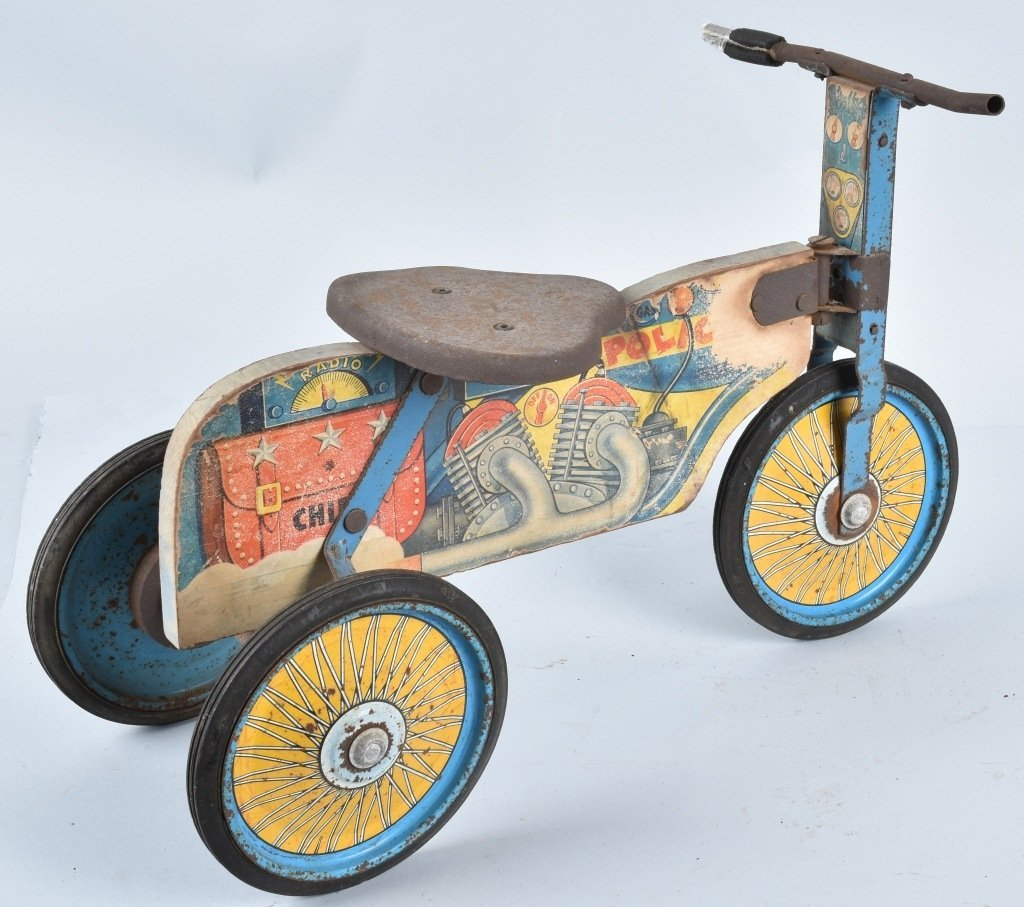ANTIQUE TOY POLICE RIDE ON MOTORCYCLE - 2