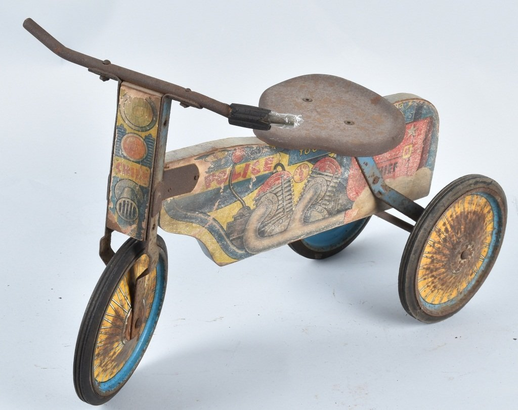 ANTIQUE TOY POLICE RIDE ON MOTORCYCLE - 3