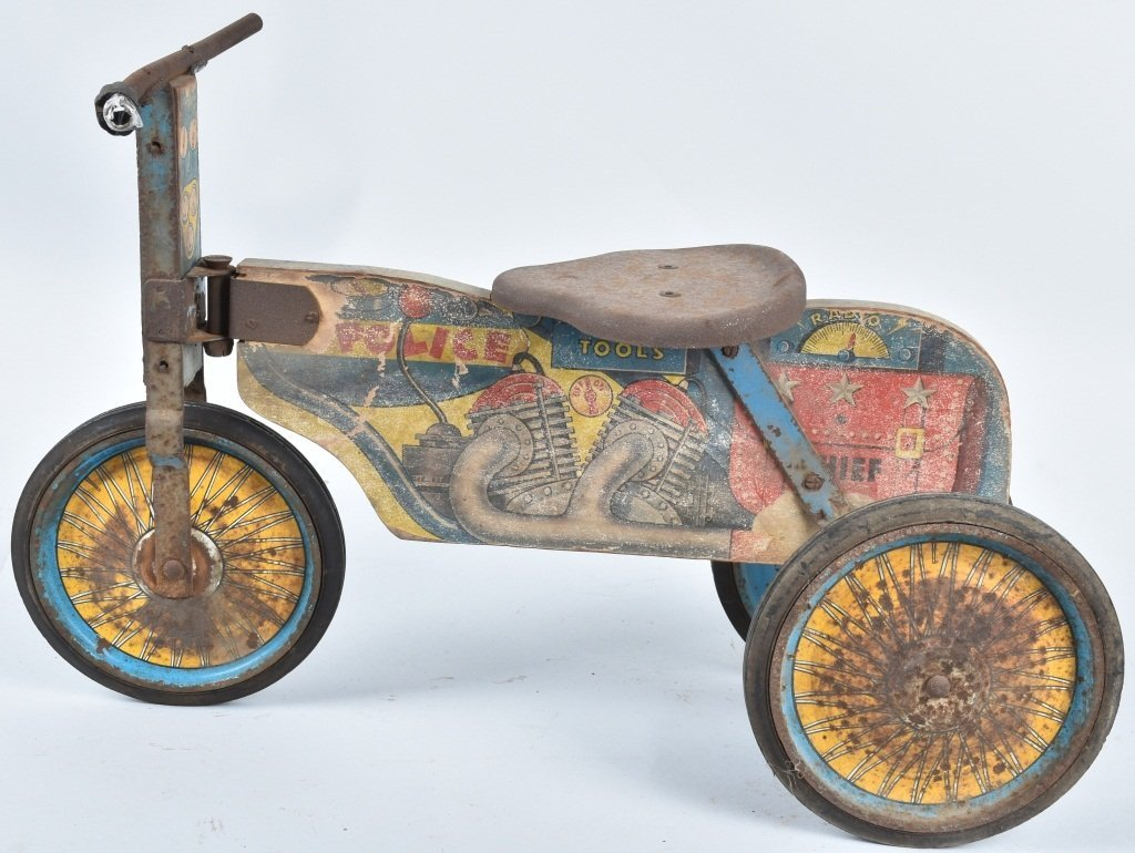 ANTIQUE TOY POLICE RIDE ON MOTORCYCLE - 4