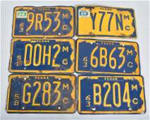 LOT OF 6 PA MOTORCYCLE LICENSE PLATES VINTAGE