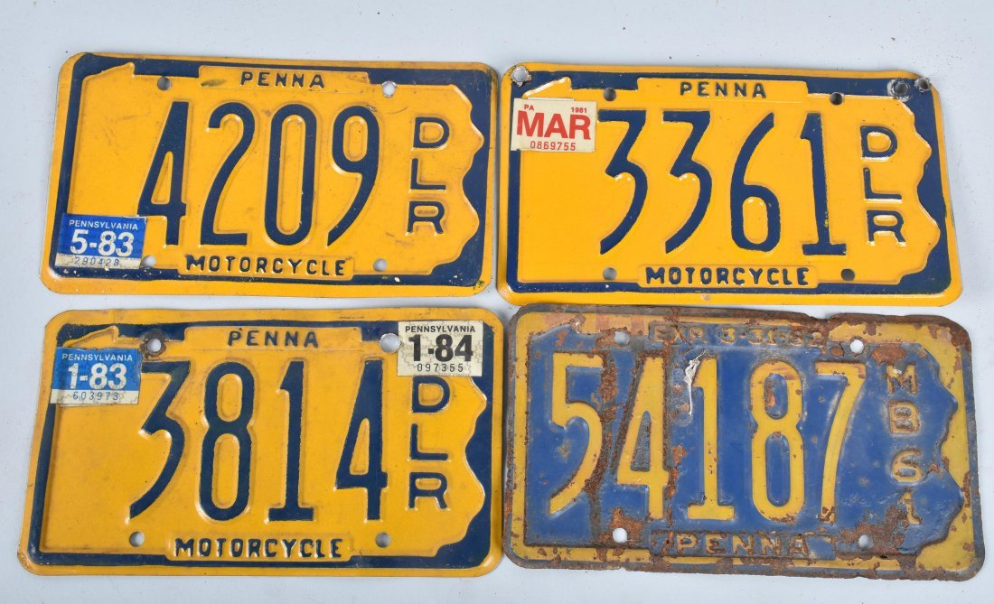 LOT OF 4 PA DEALER & MB MOTORCYCLE PLATES