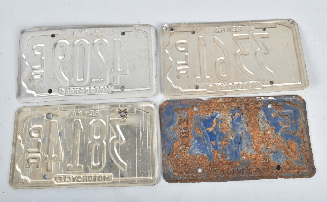 LOT OF 4 PA DEALER & MB MOTORCYCLE PLATES - 2