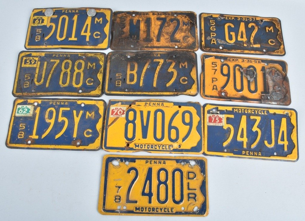 LOT OF 10 PA MOTORCYCLE LICENSE PLATES, VINTAGE