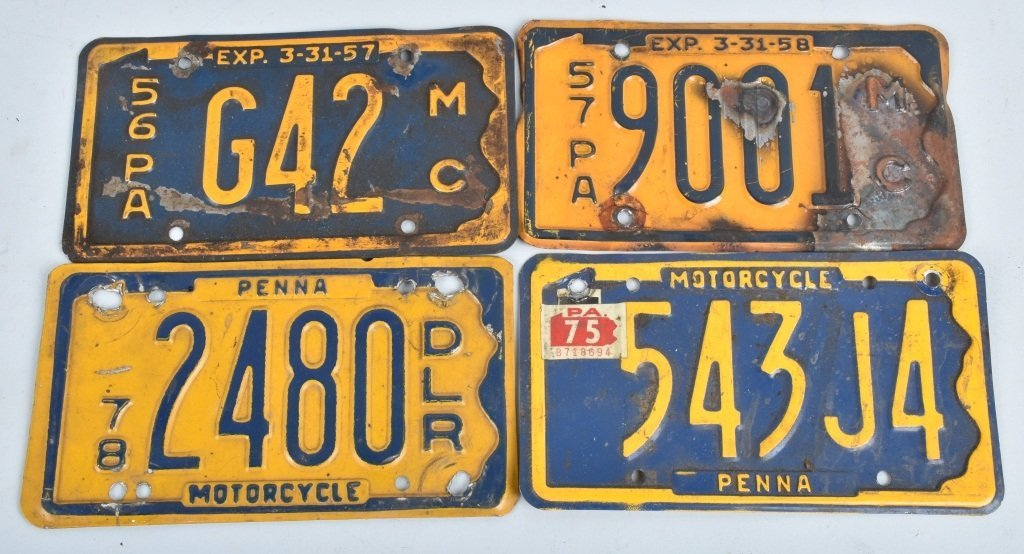 LOT OF 10 PA MOTORCYCLE LICENSE PLATES, VINTAGE - 3