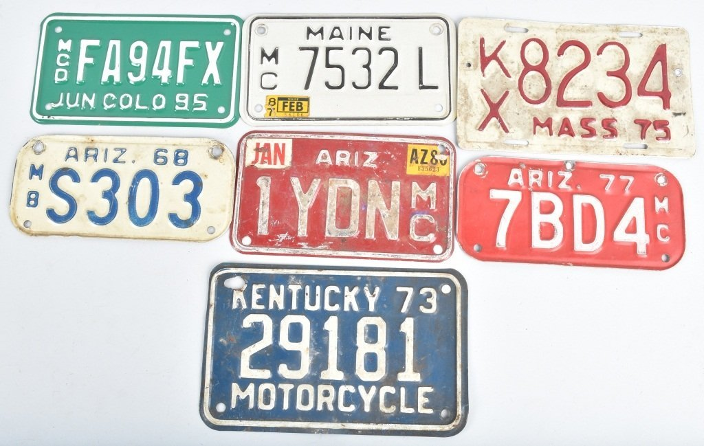 LOT OF 7 MISC. USA MOTORCYCLE LICENSE PLATES