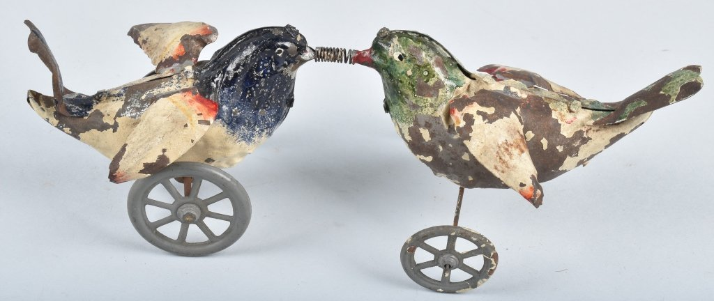 GERMAN Hand Painted Tin Windup LOVE BIRDS