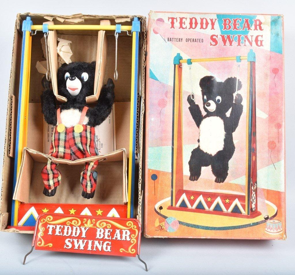 JAPAN Battery Op TEDDY BEAR SWING w/ BOX