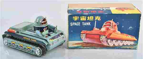 RED CHINA Battery Op SPACE TANK w/ BOX