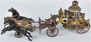 WILKINS Cast Iron 3 HORSE DRAWN FIRE PUMPER