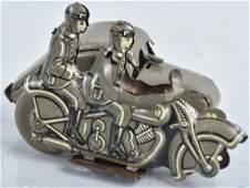 GERMAN Tin Windup MILITARY MOTORCYLE w/ SIDECAR