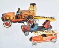 2 GERMAN PENNY TOY FIRE TRUCKS  MORE
