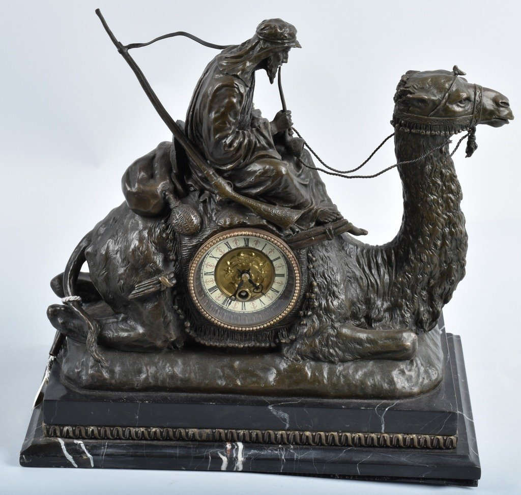 ORNATE ARAB ON CAMEL, CAST METAL SHELF CLOCK