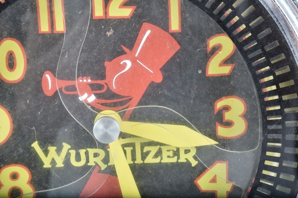 WURLITZER ADVERTISING LIGHT UP MOTION CLOCK - 2