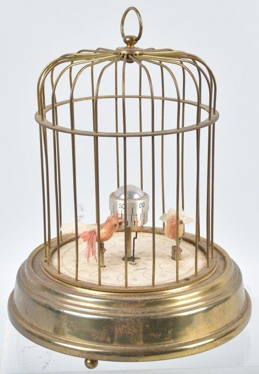 GERMAN KAISER MECHANICAL BIRDS in CAGE CLOCK