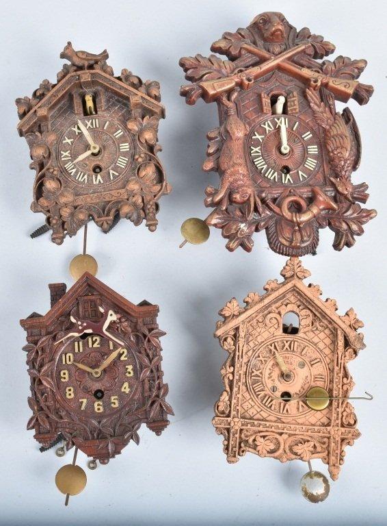 4-MINIATURE CUCKOO CLOCKS, LUX and KEEBLER