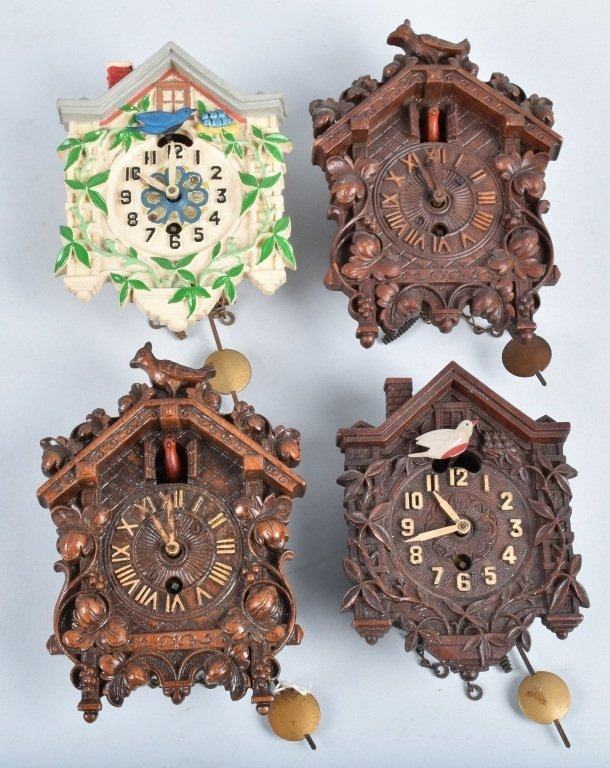 4-MINIATURE ANIMATED CUCKOO CLOCKS, LUX