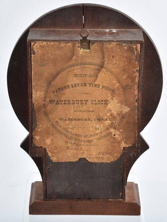 ANTIQUE WATERBURY PATENT LEVER SHELF CLOCK - 3