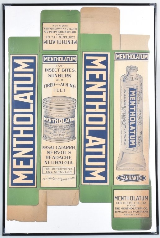 2-LARGE MENTHOLATUM STORE DISPLAY BOXES, VINTAGE