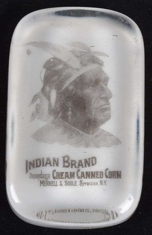 ADVERTISING PAPERWEIGHT INDIAN BRAND CREAMED CORN