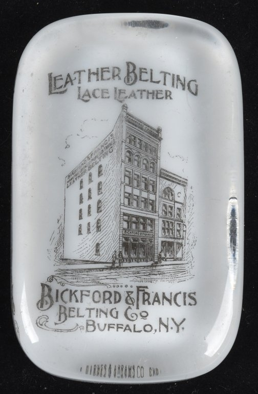 ADVERTISING PAPERWEIGHT BICKFORD LEATHER