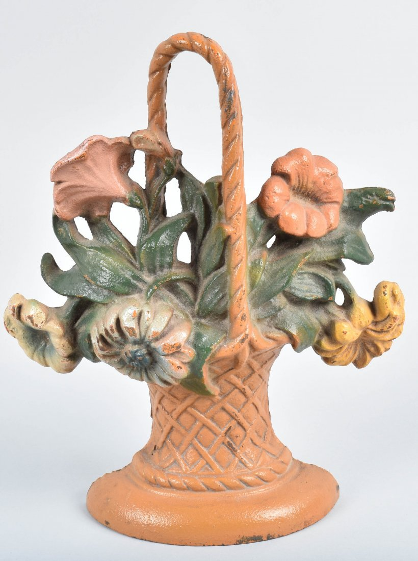 2-CAST IRON DOORSTOPS, CAMEL & BASKET OF FLOWERS - 4