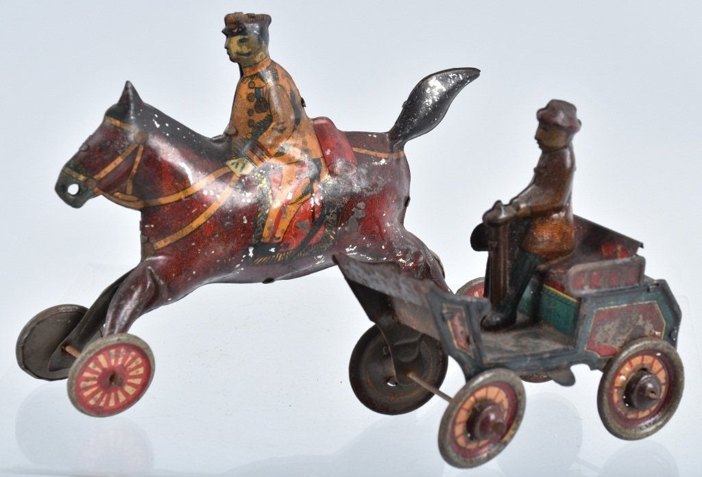 2-PRE WAR JAPAN TIN TOYS, EARLY AUTO & HORSE