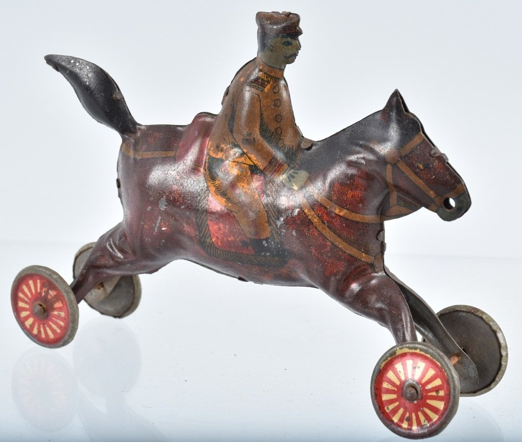 2-PRE WAR JAPAN TIN TOYS, EARLY AUTO & HORSE - 8