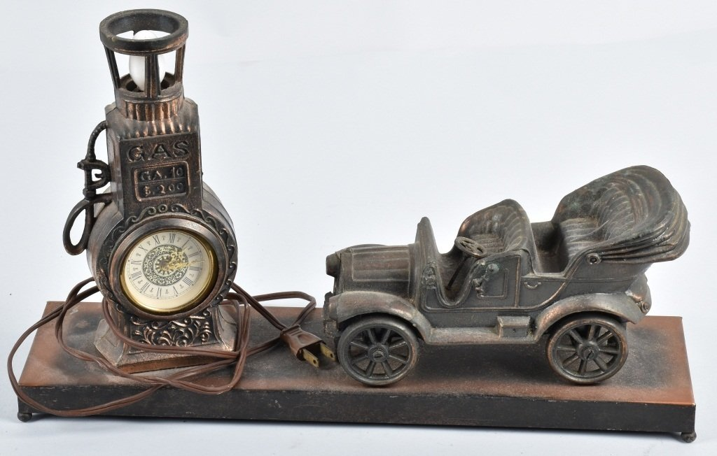 FIGURAL EARLY AUTO and GAS PUMP CLOCK / LAMP