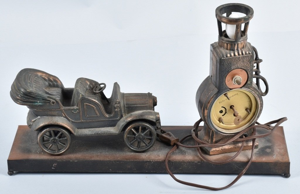 FIGURAL EARLY AUTO and GAS PUMP CLOCK / LAMP - 4