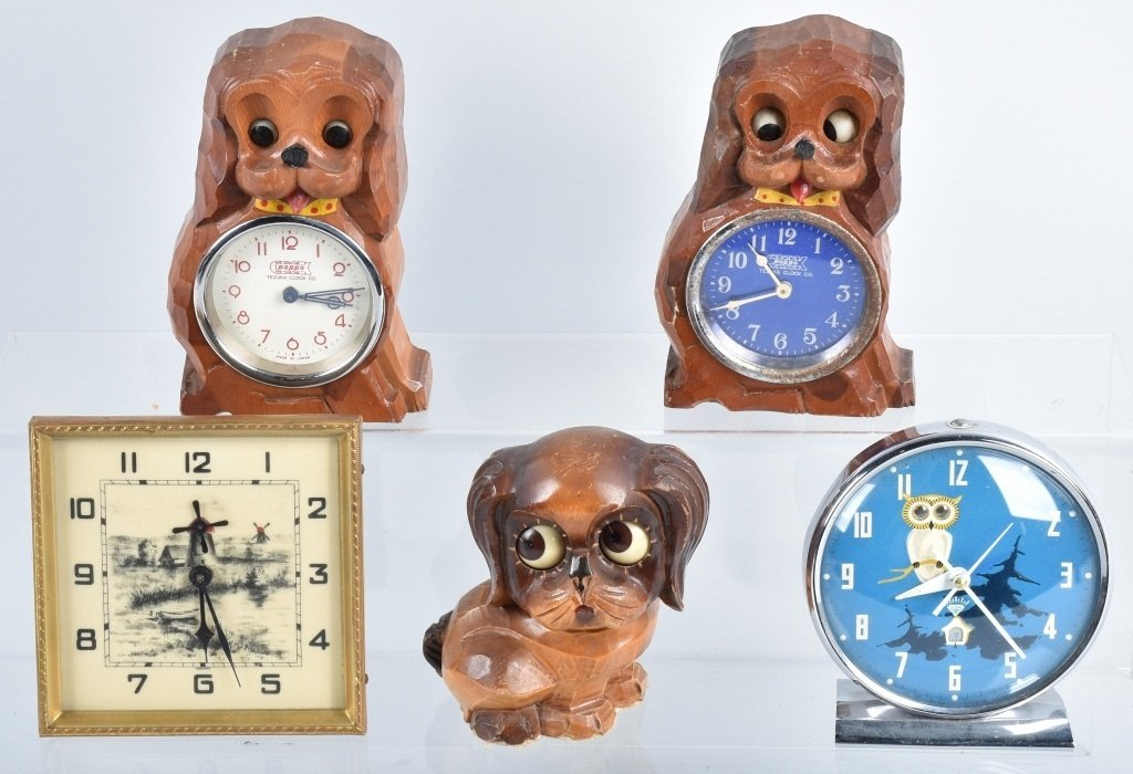 4-ANIMATED NOVELTY CLOCKS & BLINKING DOG