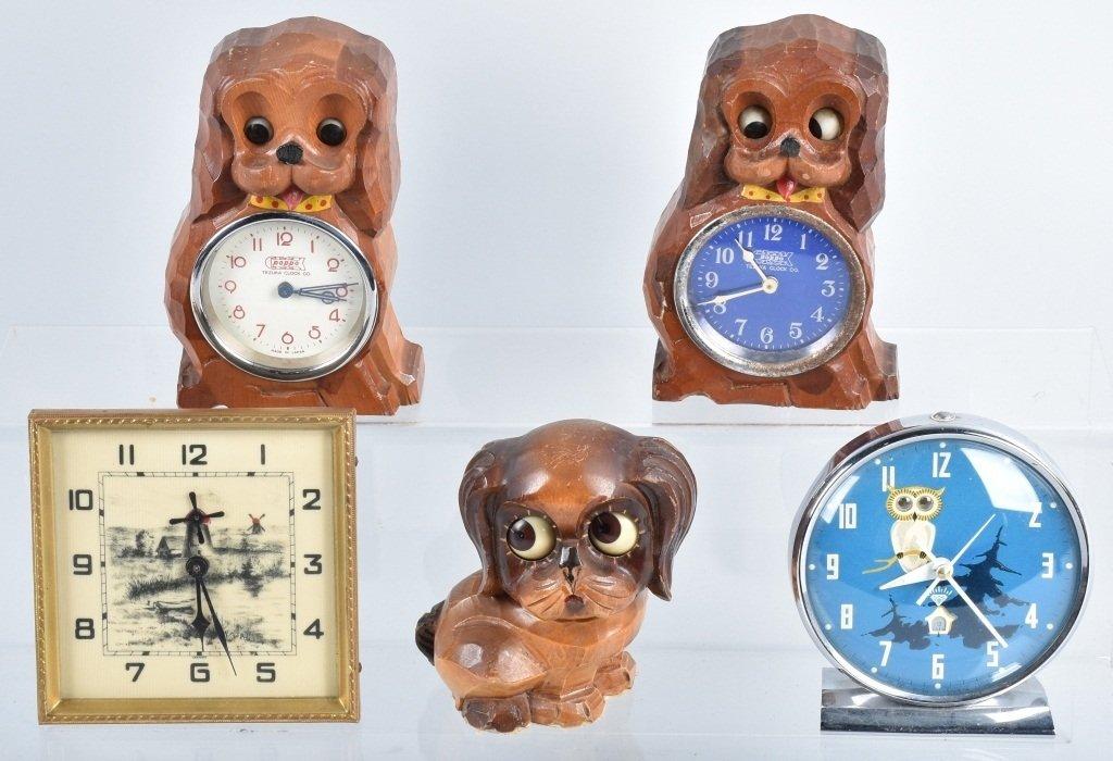 4-ANIMATED NOVELTY CLOCKS & BLINKING DOG