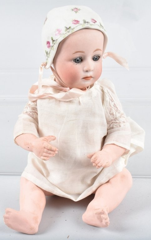 BISQUE SLEEP EYE DOLL with BISQUE BONNET
