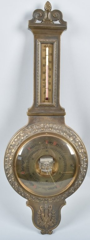 GERMAN CAST BRASS BAROMETER / THERMOMETER