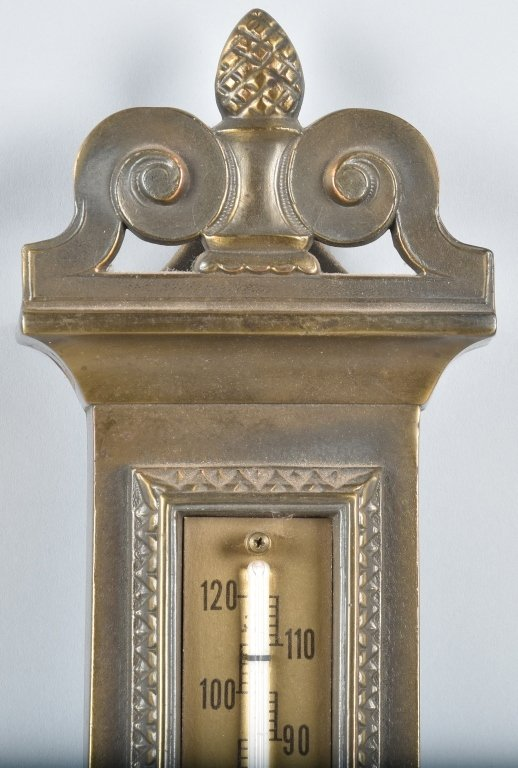 GERMAN CAST BRASS BAROMETER / THERMOMETER - 2