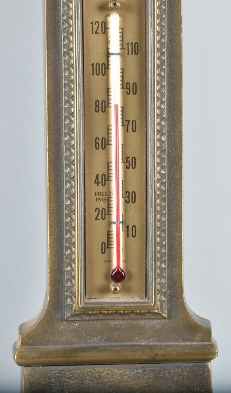 GERMAN CAST BRASS BAROMETER / THERMOMETER - 3