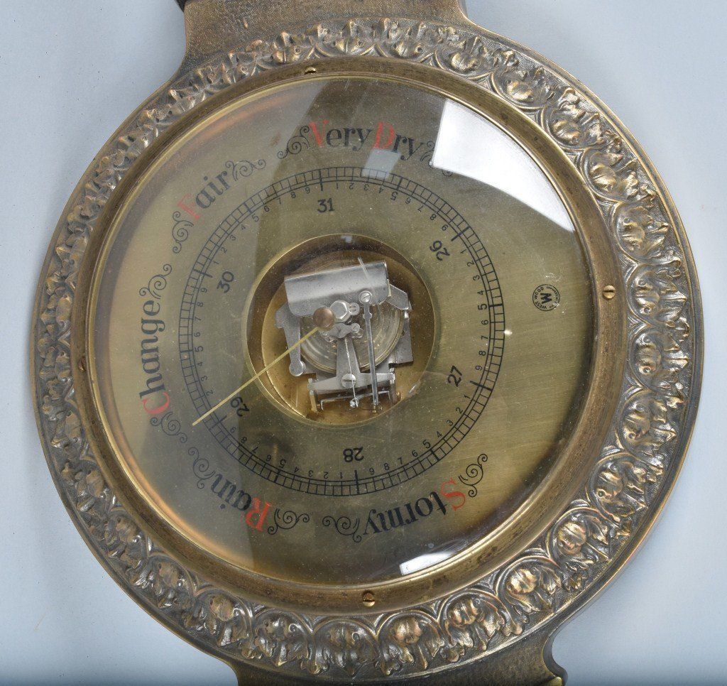 GERMAN CAST BRASS BAROMETER / THERMOMETER - 5