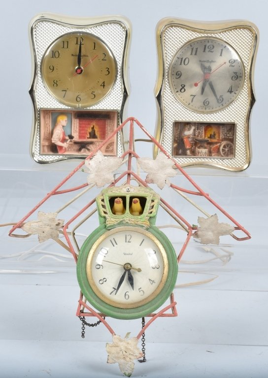 3- ANIMATED ELECTRIC CLOCKS, VINTAGE