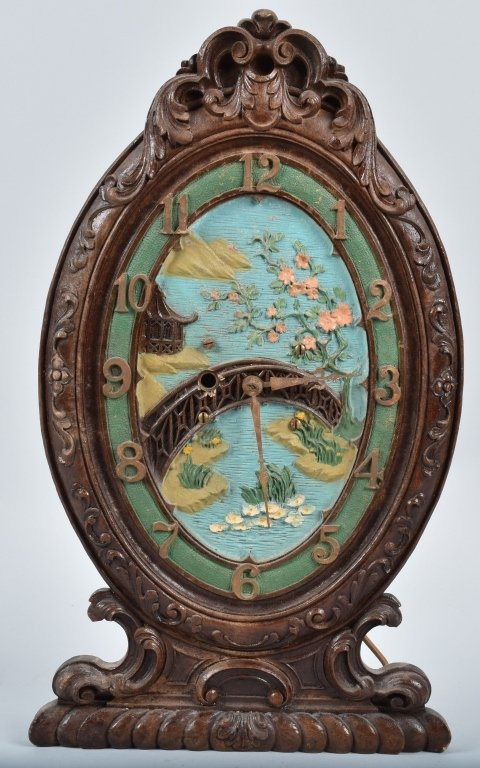 VINTAGE PICTURE FRAME CLOCK, PAINTED