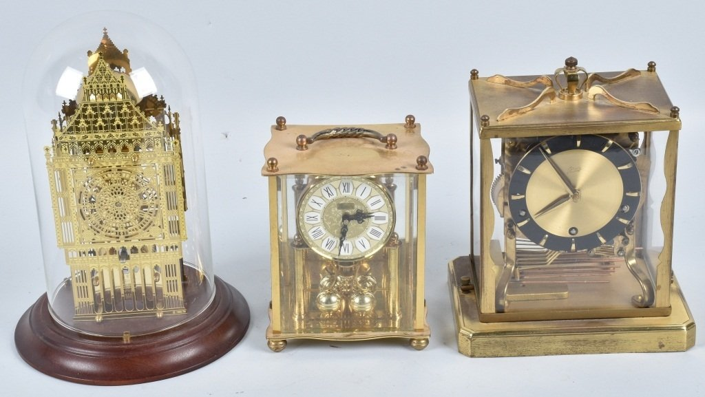 3- GLASS CASE CLOCKS, SCHATZ and MORE
