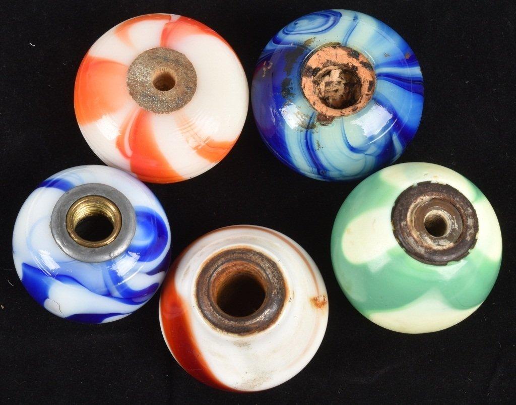 5-GLASS SWIRL GEAR SHIFT KNOBS, VINTAGE - 5