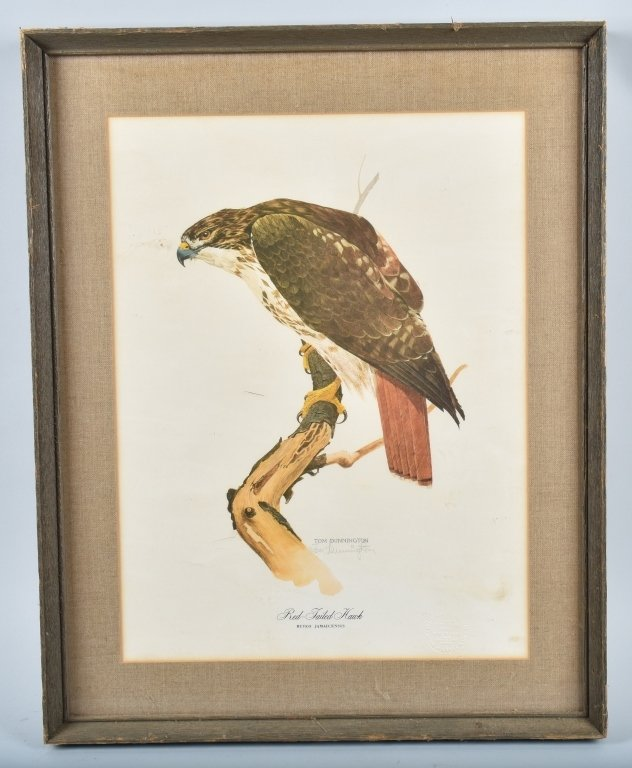 TOM DUNNINGTON SIGNED RED TAILED HAWK PRINT