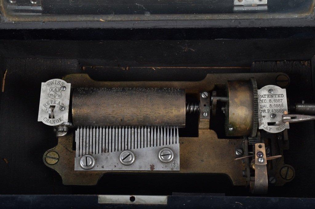 PAT 1888, SWISS CYLINDER MUSIC BOX - 3