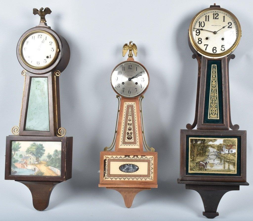 3-BANJO CLOCKS, SETH THOMAS, NEW HAVEN & MORE