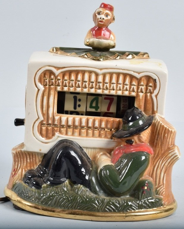 1949 CERAMIC TELE-VISION, ORGAN GRINDER CLOCK